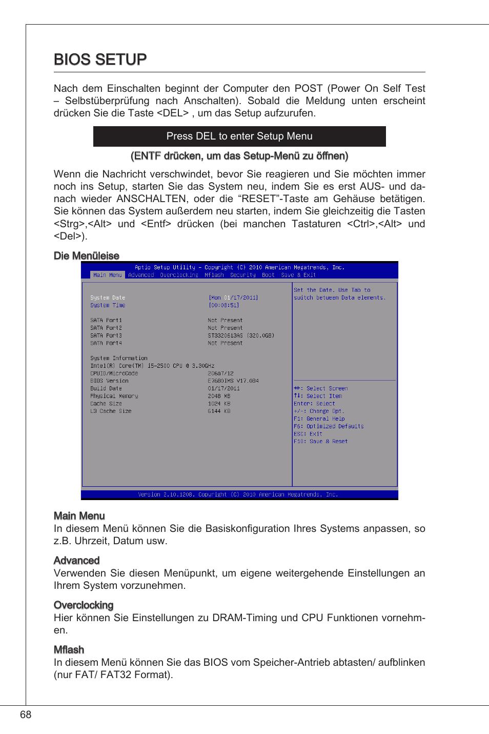 Bios setup | MSI H61M-P21 (B3) User Manual | Page 68 / 137