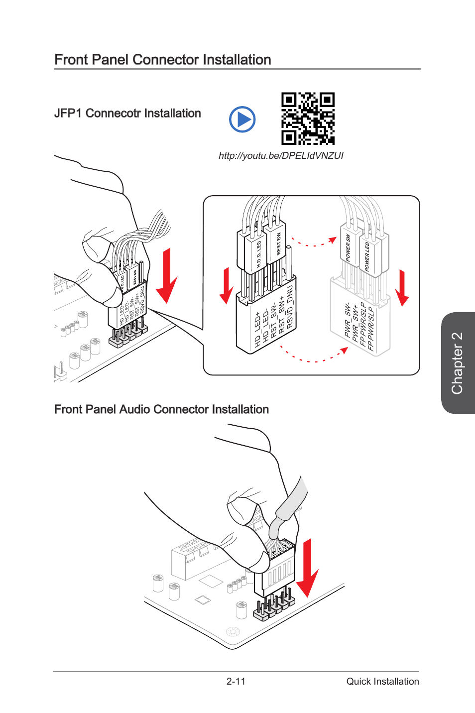 front panel connector installation  jfp1 connecotr