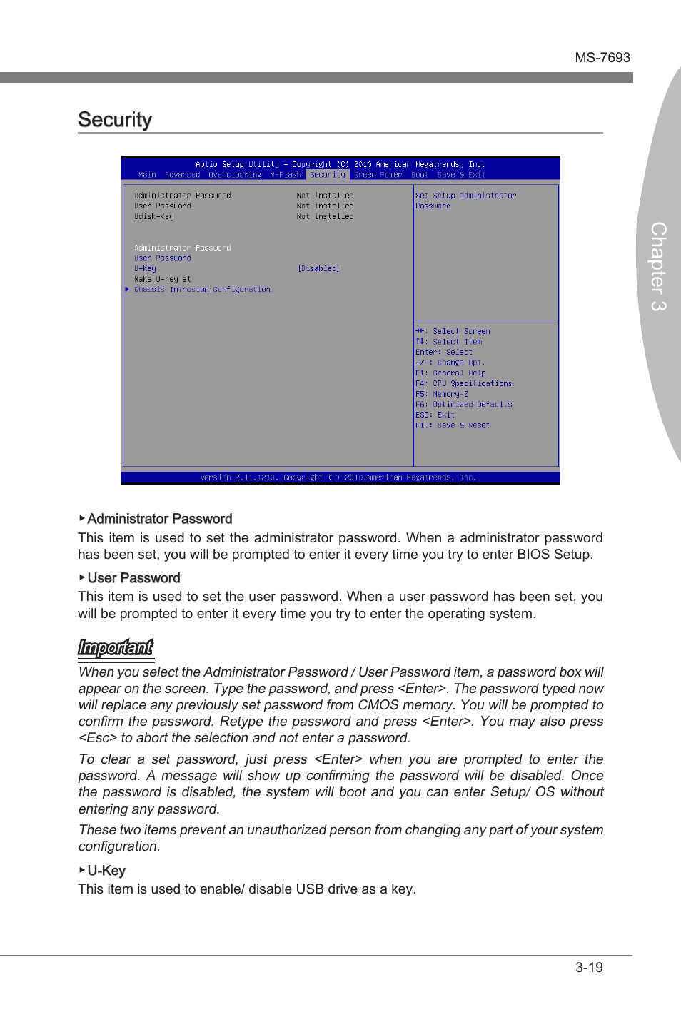 Security, Secur ty -19, Chapter 3 | MSI 970A-G45 User Manual