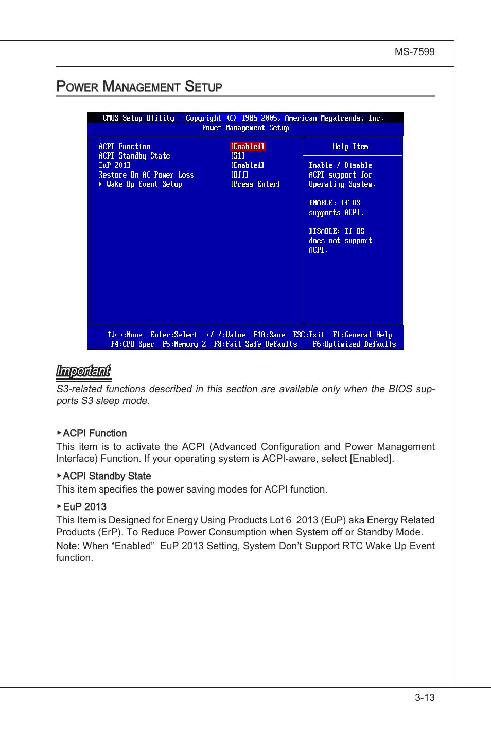 Power management setup -13   MSI 870A-G54 (FX) User Manual