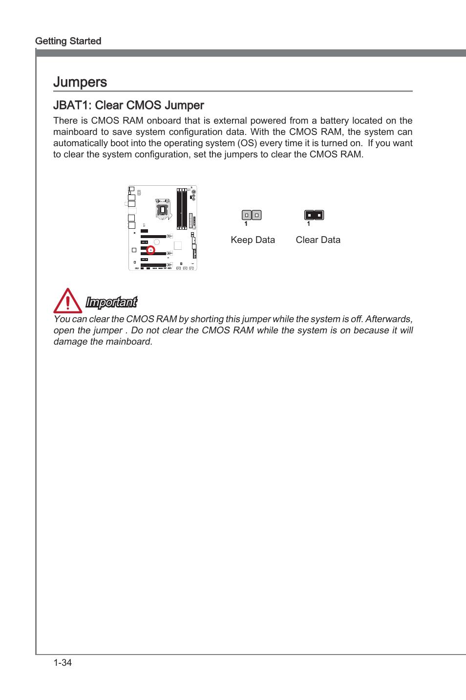 Jumpers -34, Jbat1, Clear cmos jumper | MSI Z77 MPOWER User