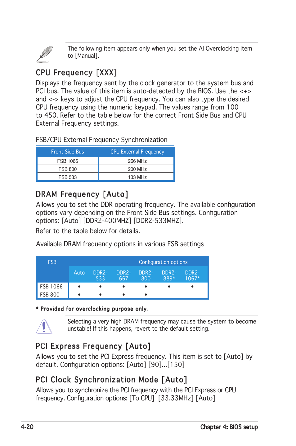 Cpu frequency [xxx, Pci express frequency [auto, Pci clock