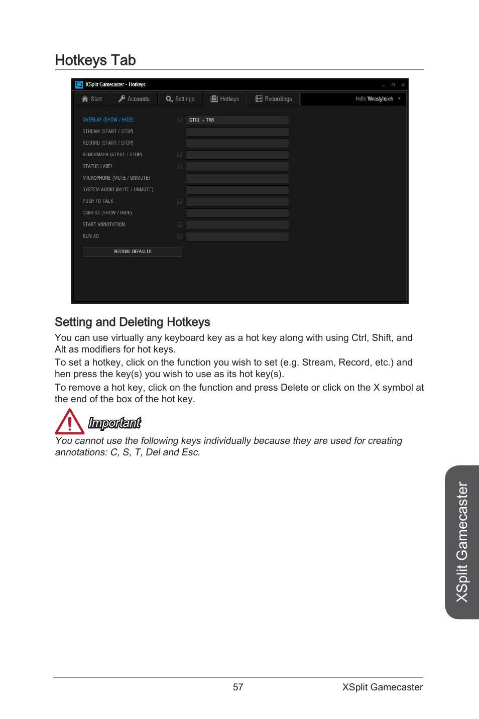 Hotkeys tab, Setting and deleting hotkeys, Xsplit gamecaster   MSI