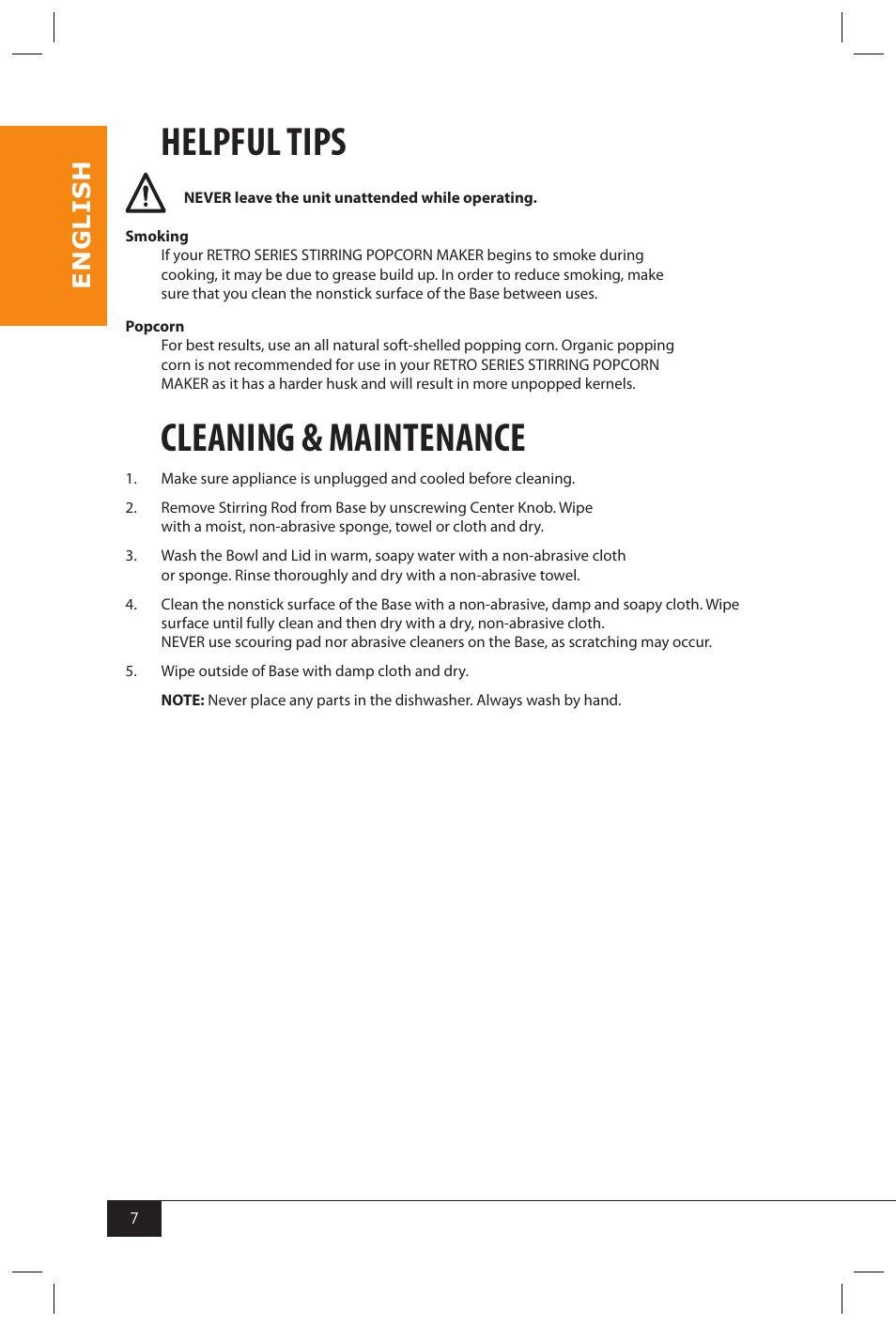 Helpful tips, Cleaning & maintenance, En g li s h | Nostalgia