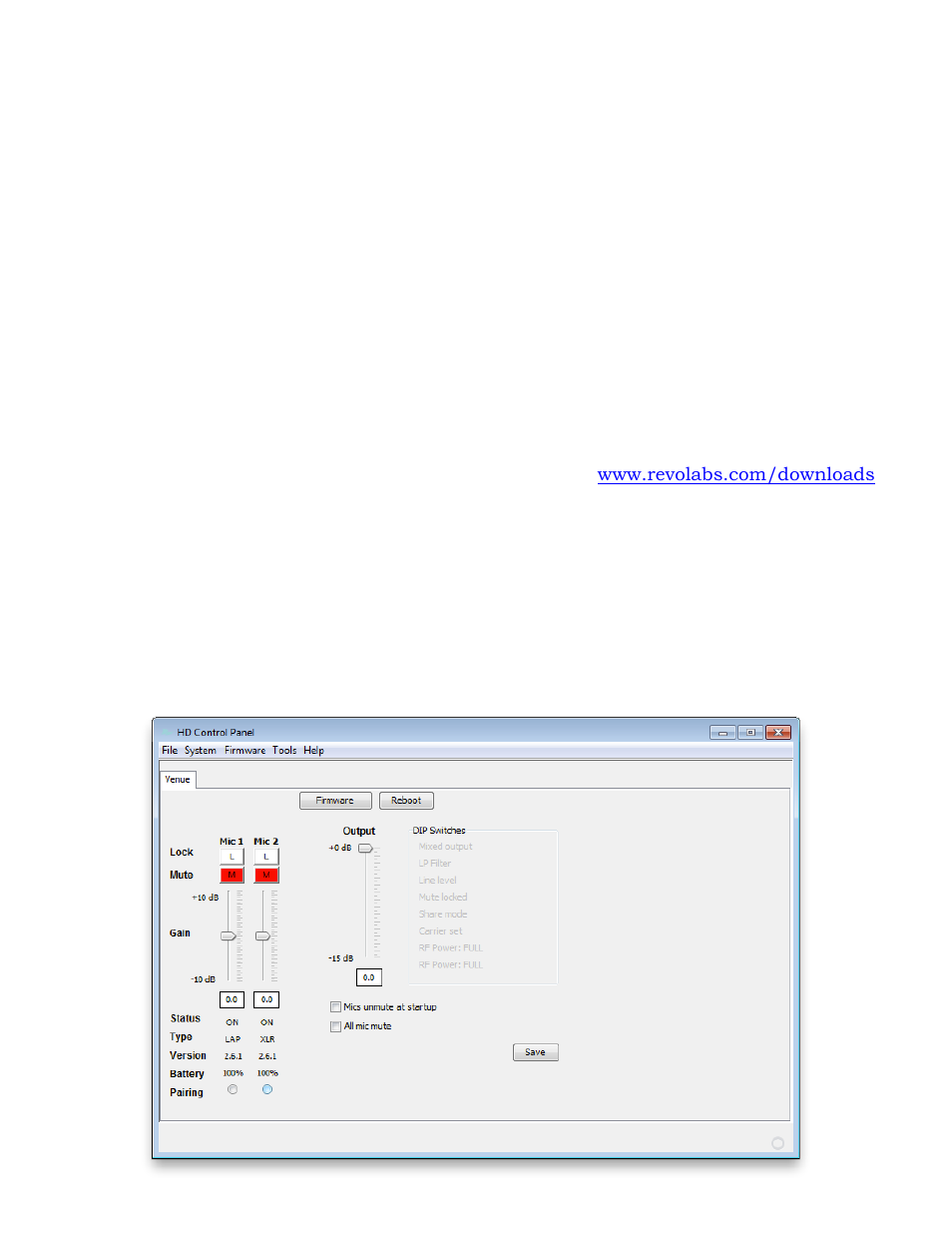 Using the revolabs hd control panel software, Configuration