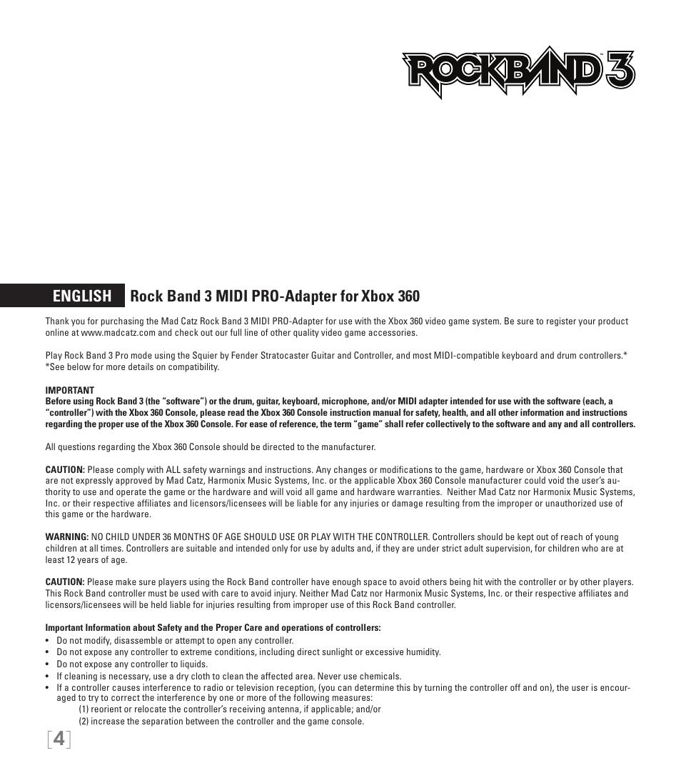 English rock band 3 midi pro-adapter for xbox 360   Rock Band MIDI PRO
