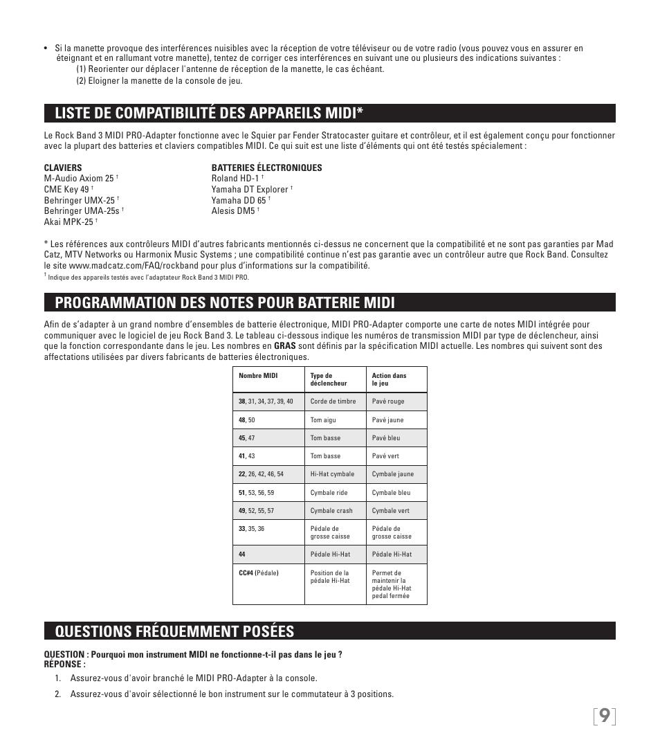 Liste de compatibilité des appareils midi, Questions fréquemment posées    Rock Band MIDI PRO-