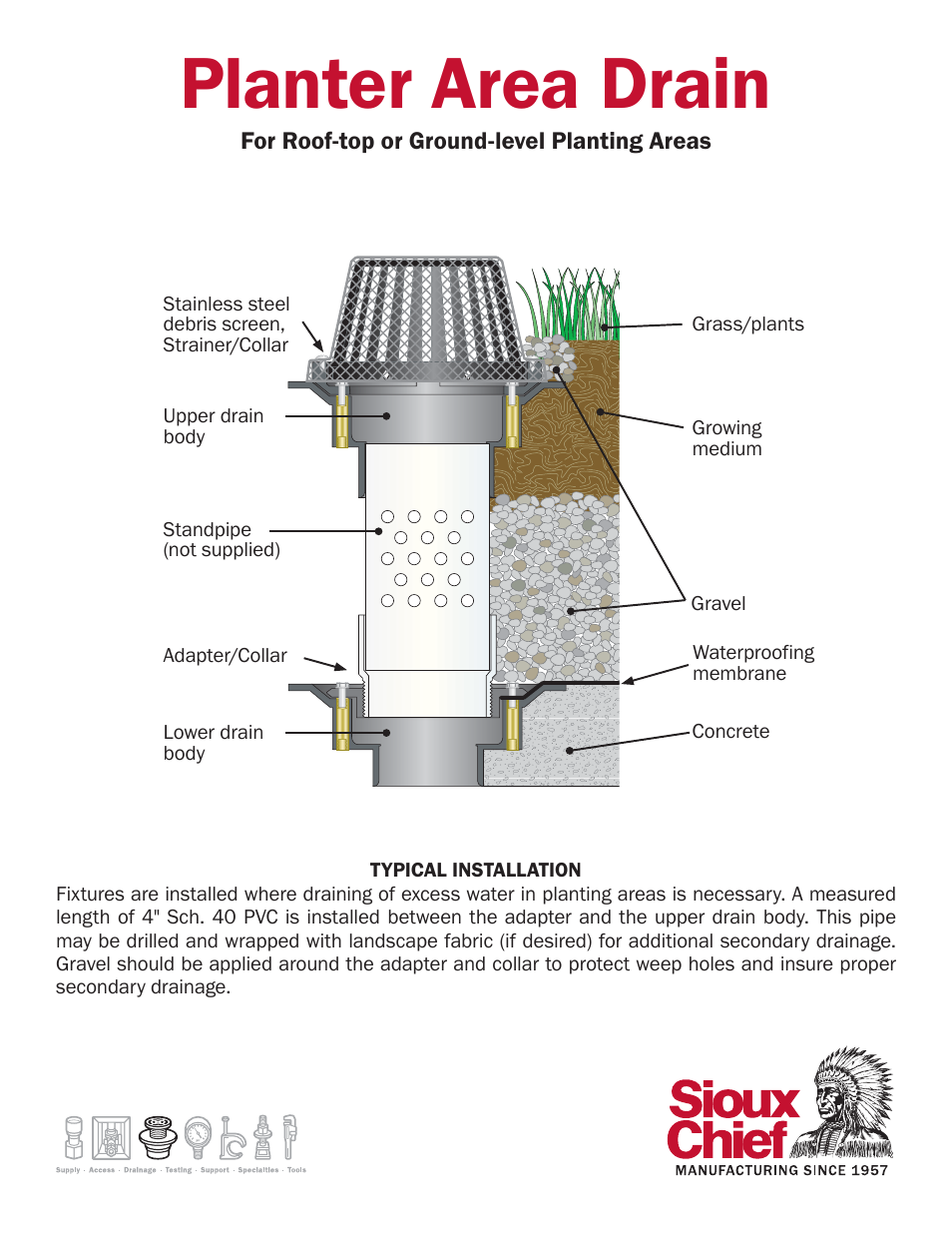 sioux chief planter area drain user manual