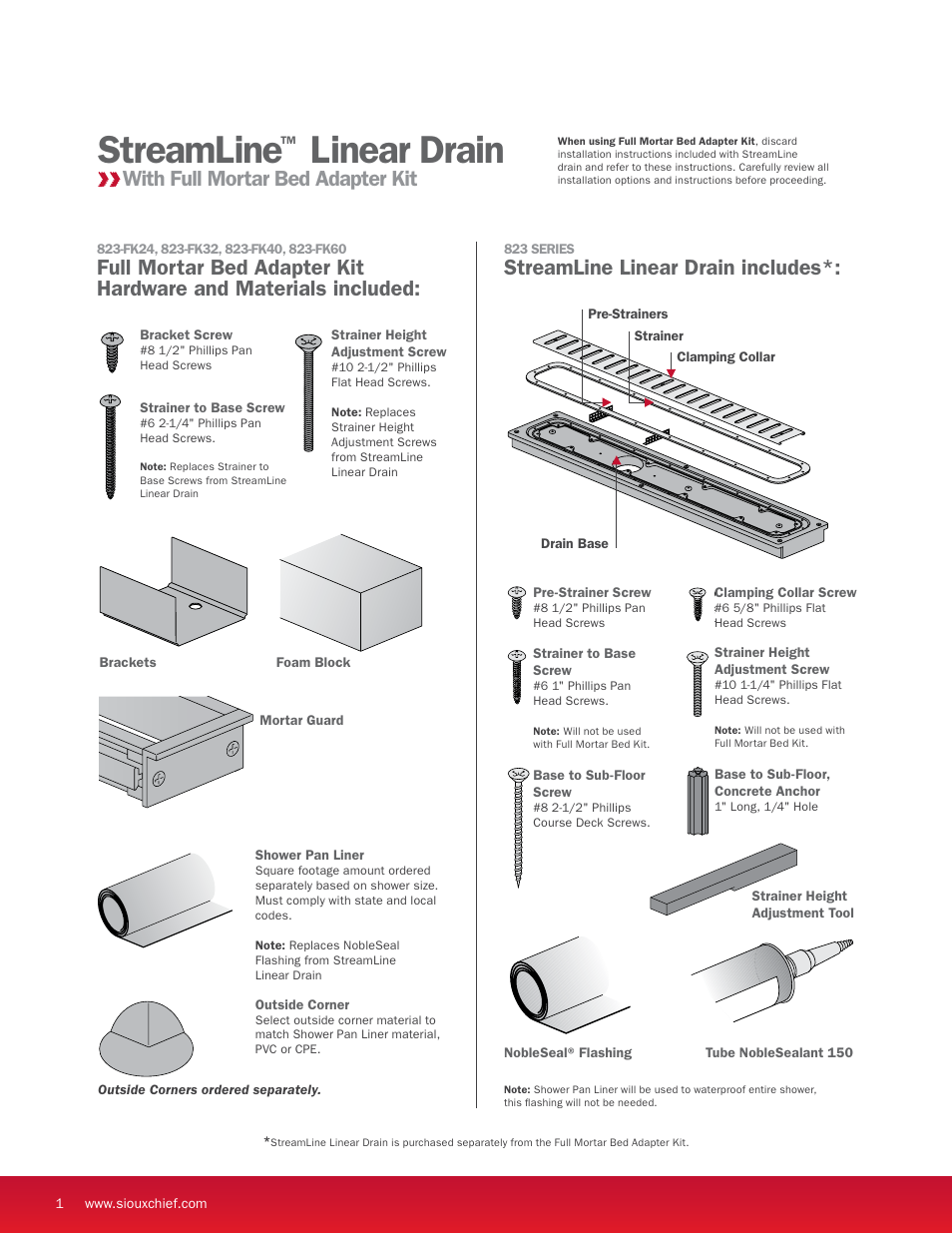 streamline linear drain streamline linear drain includes with full mortar bed adapter kit sioux chief linear shower drain streamline full mortar bed