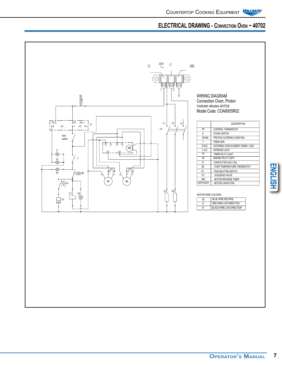 English Electrical Drawing C Onvection Vollrath Cayenne Countertop Convection Oven Wiring Diagram Ovens Operator Manual User Page 7 16
