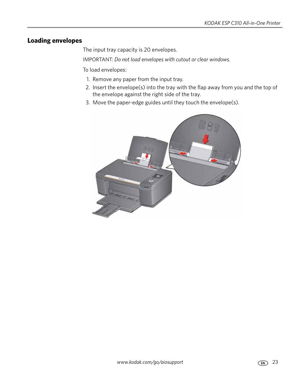 loading envelopes kodak esp c310 user manual page 29 94 rh manualsdir com