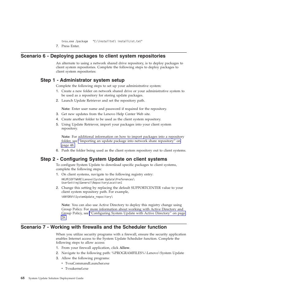 Step 1 - administrator system setup | Lenovo System Update Solution