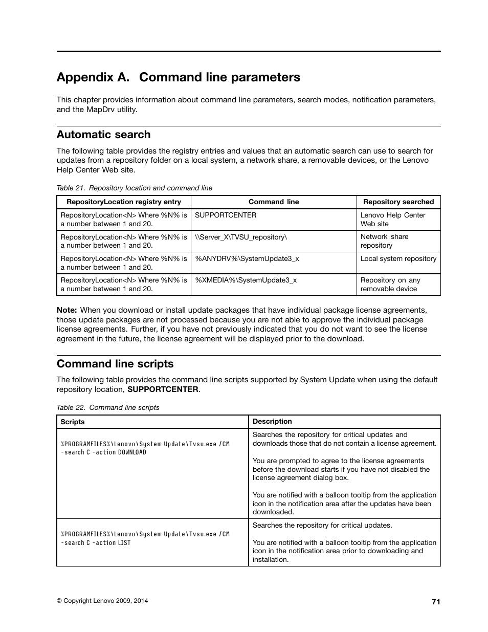 Appendix a  command line parameters, Automatic search, Command line