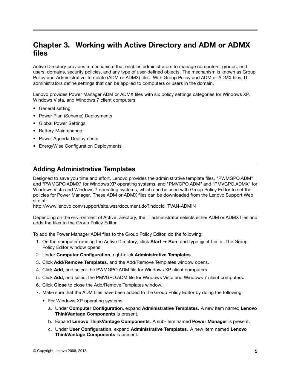Adding administrative templates | Lenovo ThinkVantage (Power
