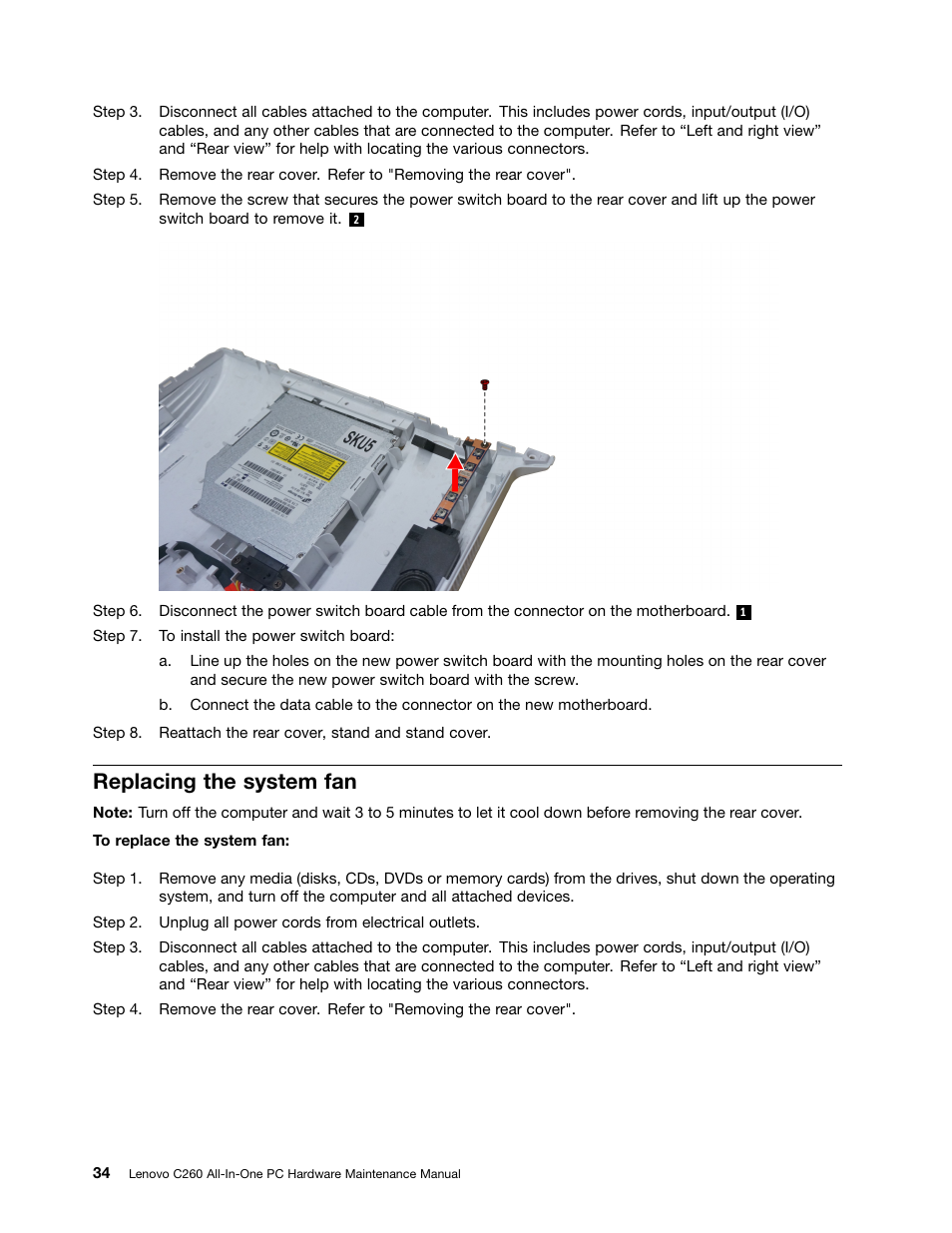 Replacing The System Fan Lenovo C260 Touch All In One User Manual Switch Wiring Pc Cool Page 40 51
