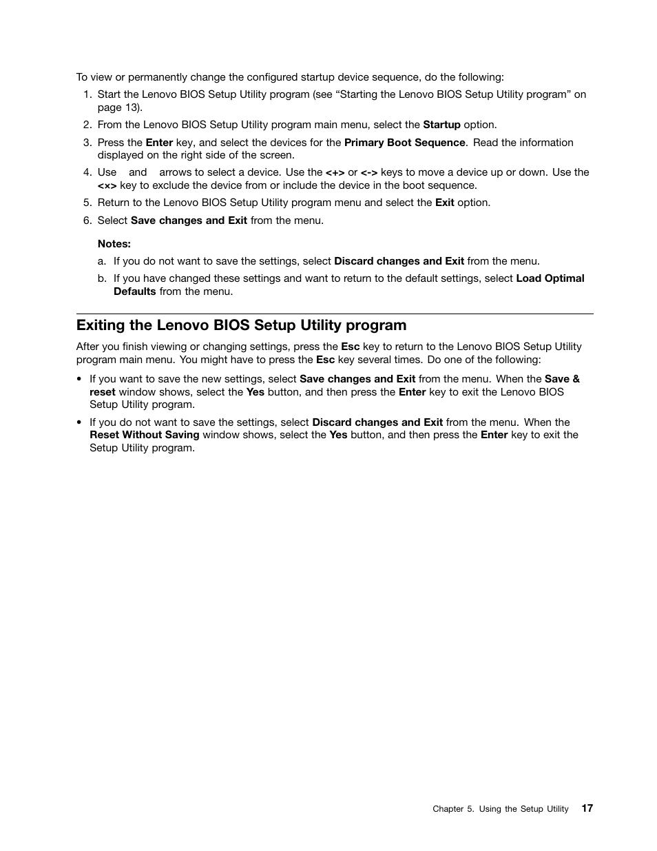 Exiting the lenovo bios setup utility program | Lenovo H505s Desktop