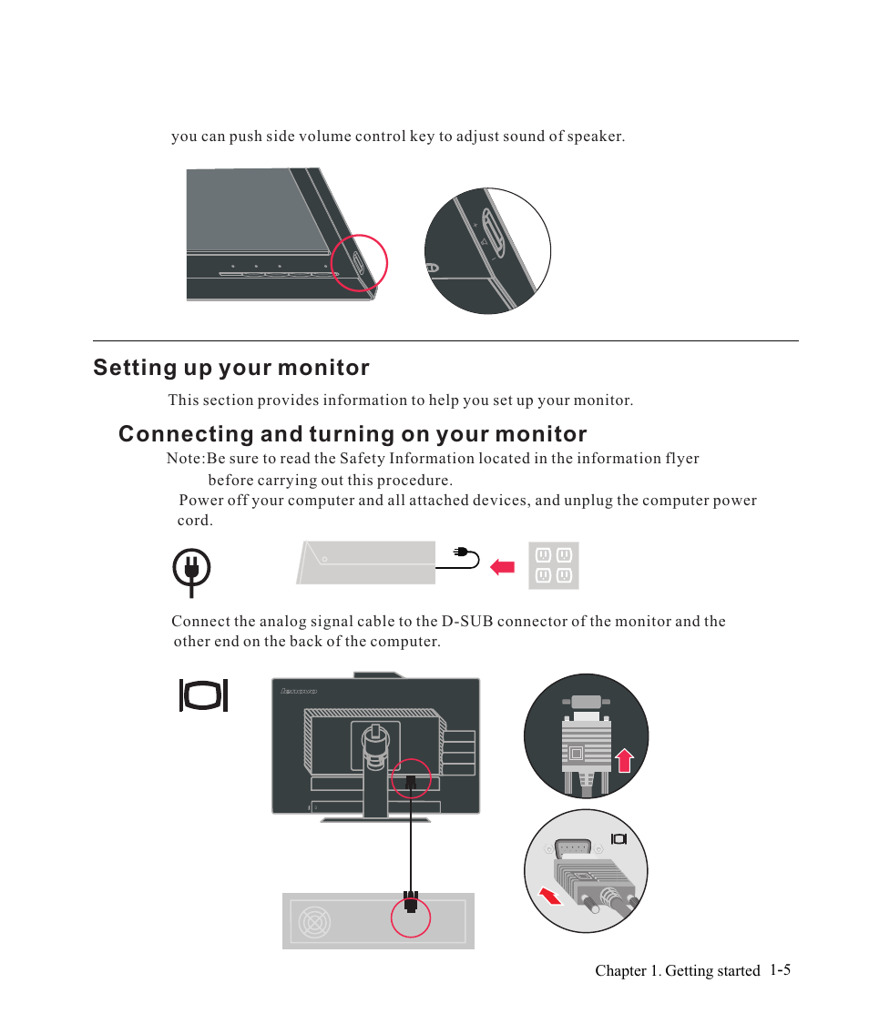 Setting up your monitor, Connecting and turning on your monitor