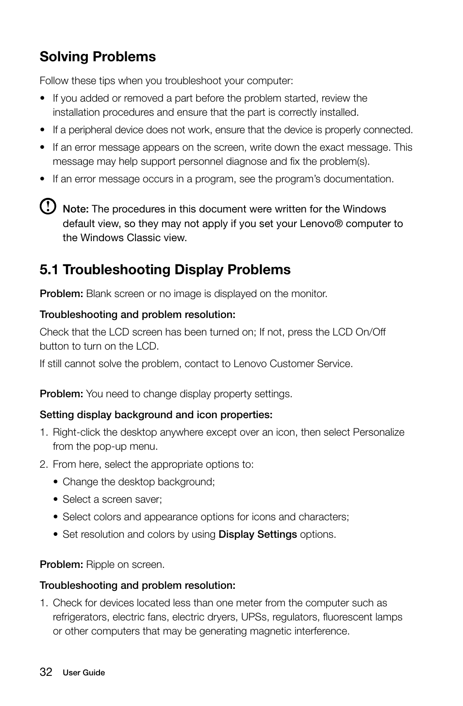 1 troubleshooting display problems, Solving problems