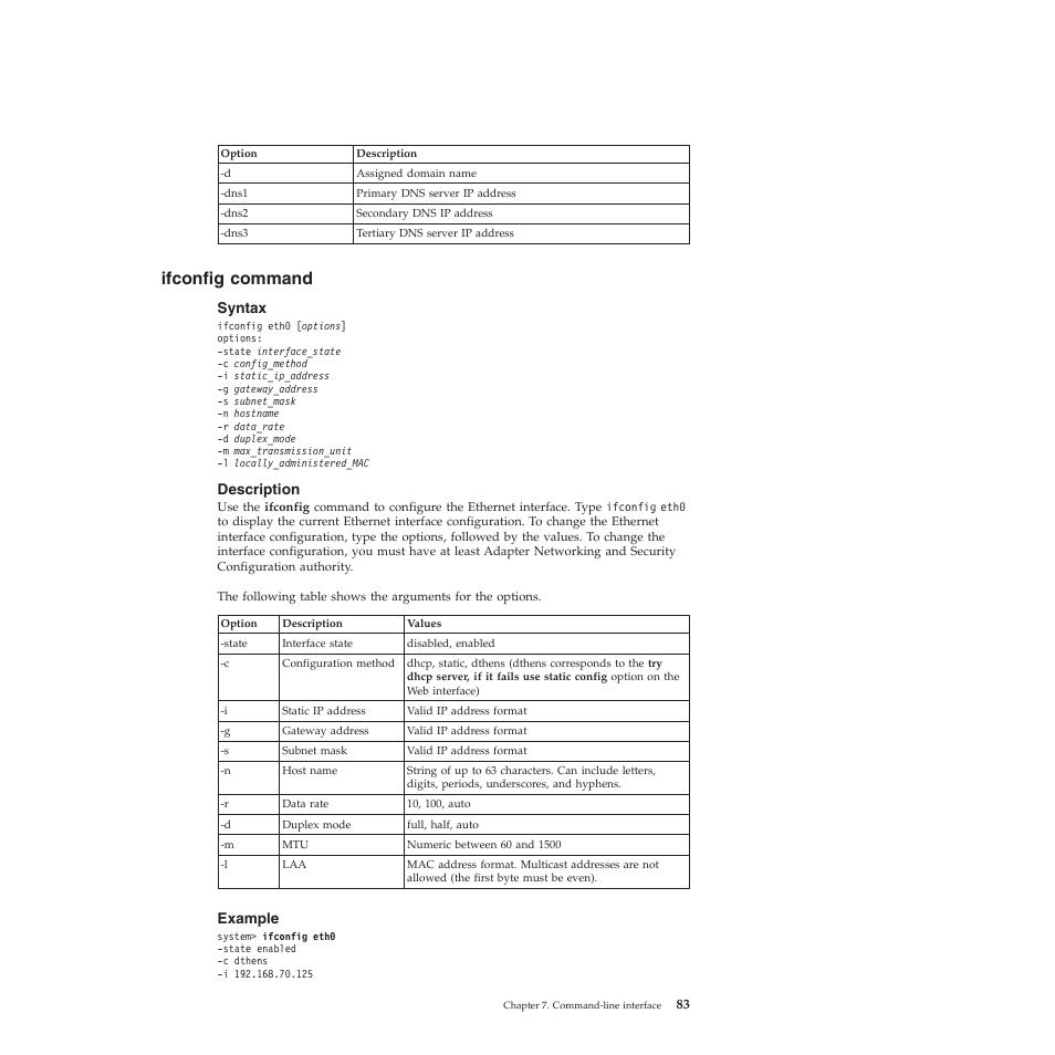 Ifconfig command, Syntax, Description | Lenovo ThinkServer