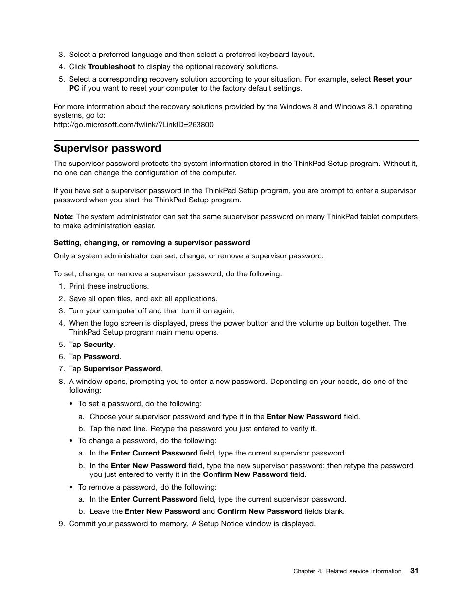 Supervisor password | Lenovo ThinkPad Tablet 2 User Manual | Page 37