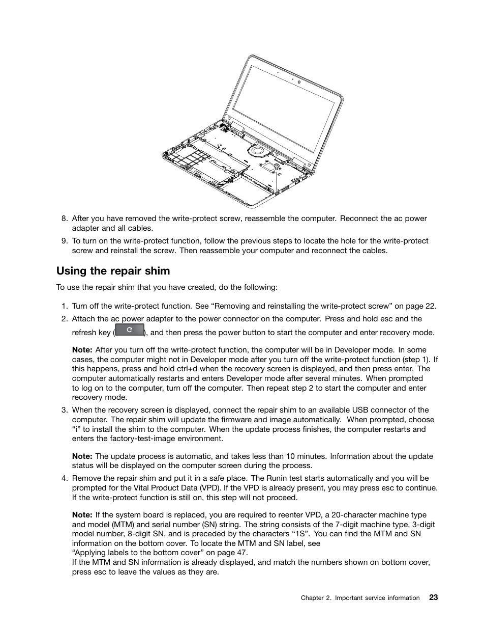 Using the repair shim | Lenovo ThinkPad Yoga 11e Chromebook User