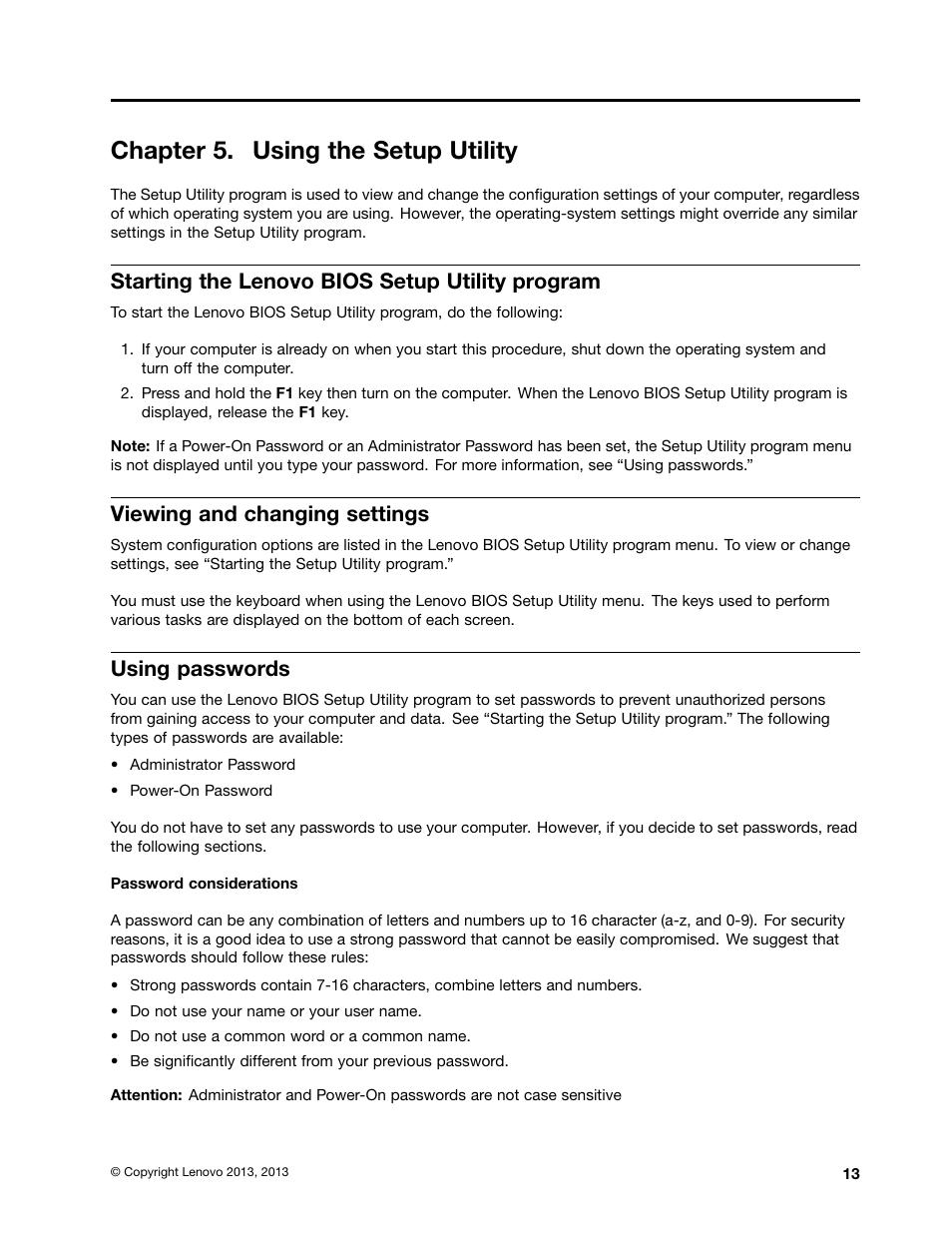 Chapter 5  using the setup utility, Starting the lenovo bios setup
