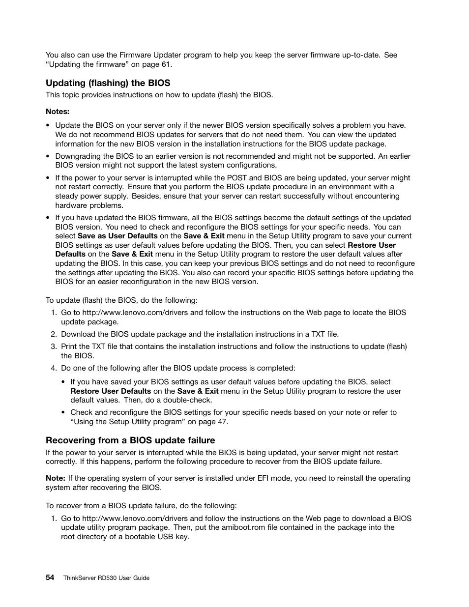 Updating (flashing) the bios | Lenovo ThinkServer RD530 User