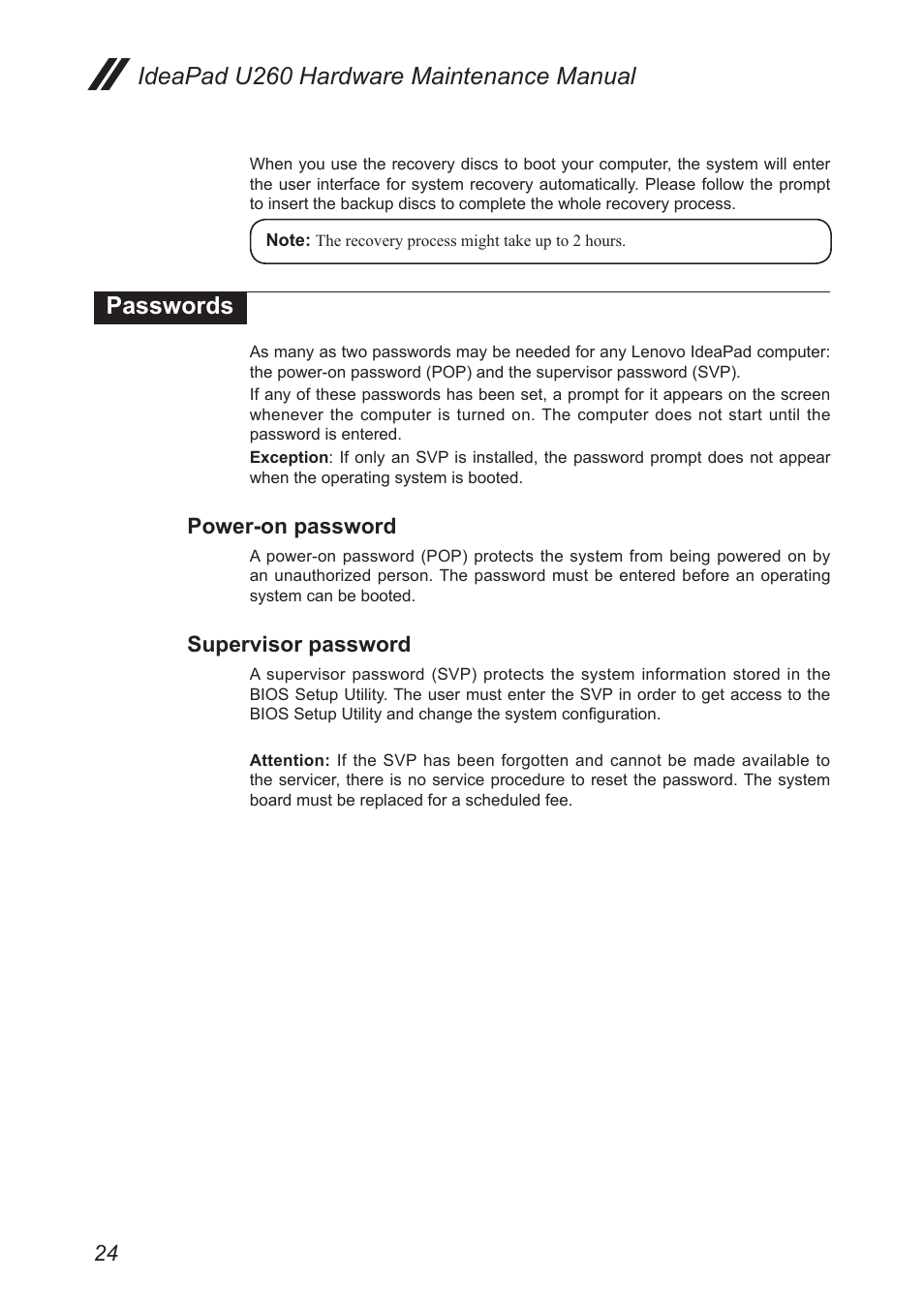 Passwords, Power-on password, Supervisor password | Lenovo IdeaPad