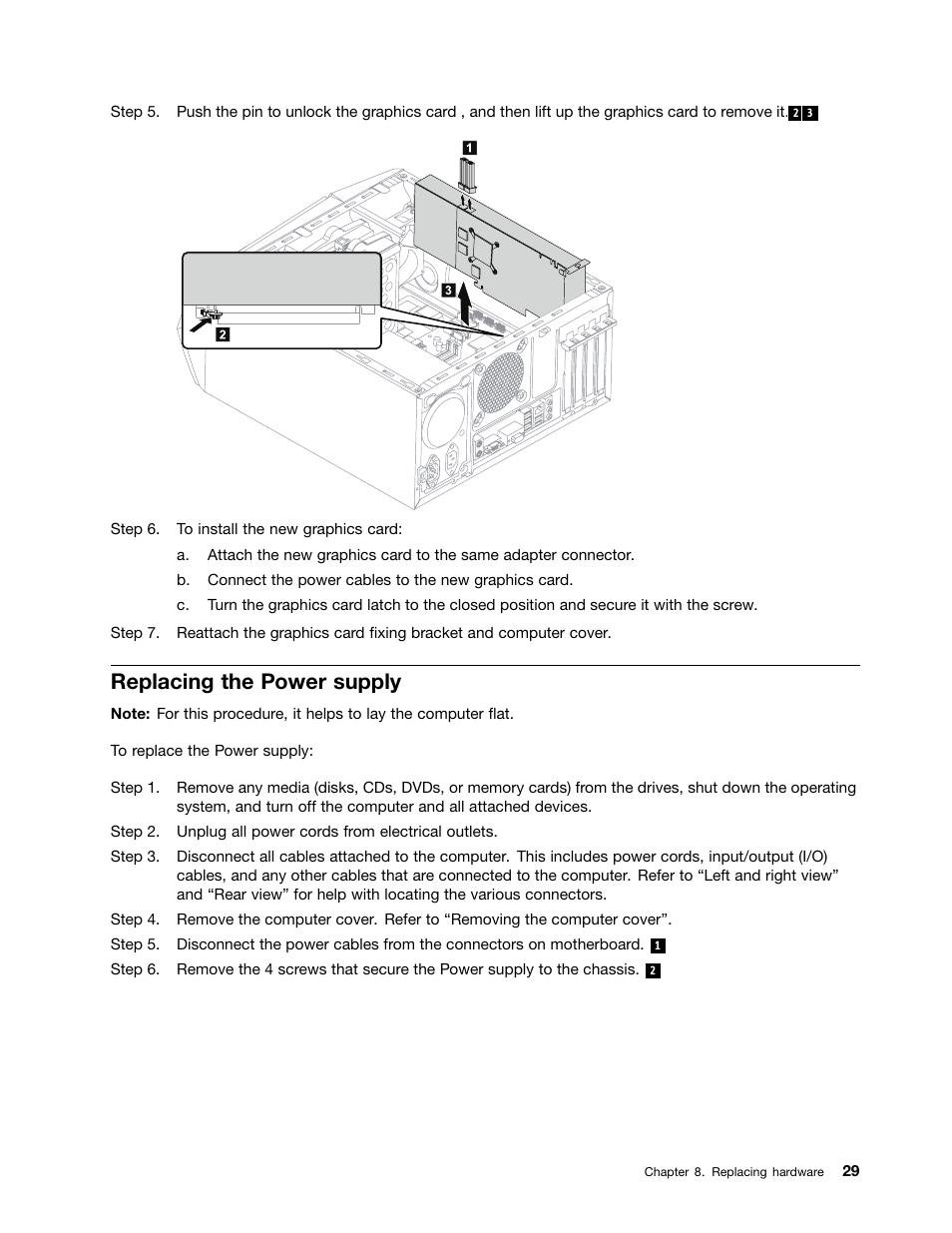 Replacing the power supply | Lenovo Erazer X315 Desktop User Manual
