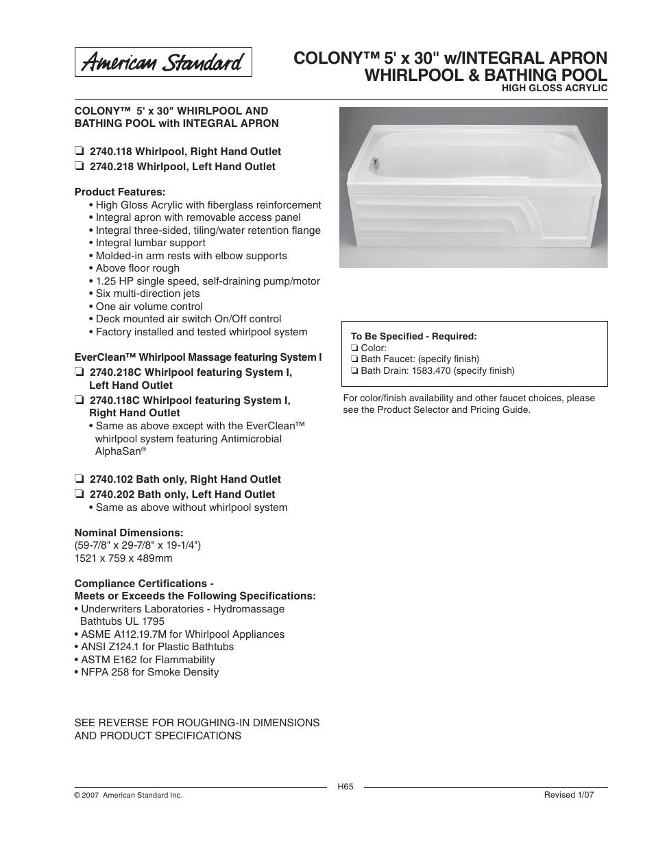 american standard colony 2740 118c user manual 2 pages rh manualsdir com Running Man E162 Radiant Panel Class 1