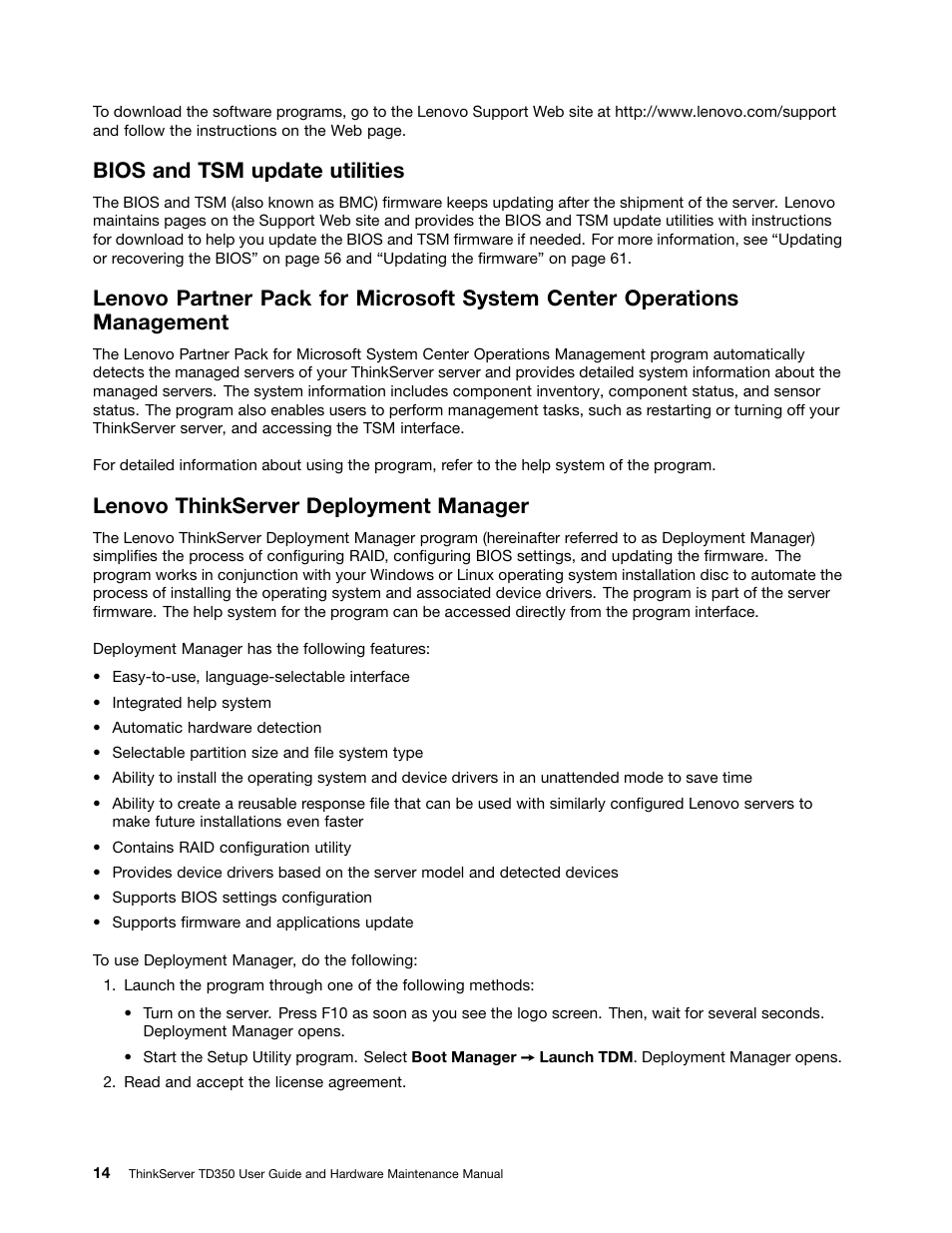 Bios and tsm update utilities, Lenovo thinkserver deployment manager
