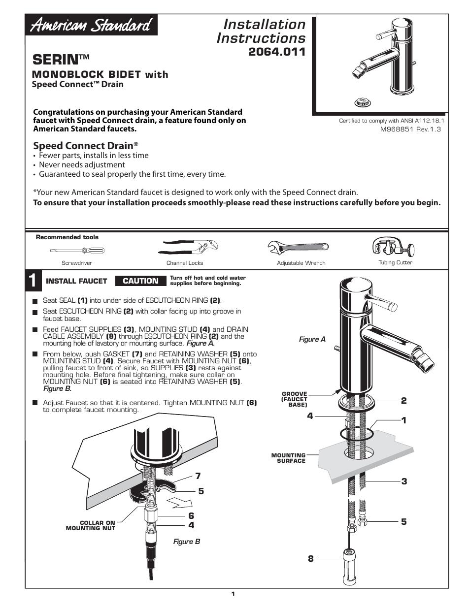 American Standard MONOBLOCK BIDET 2064.011 User Manual | 6 pages