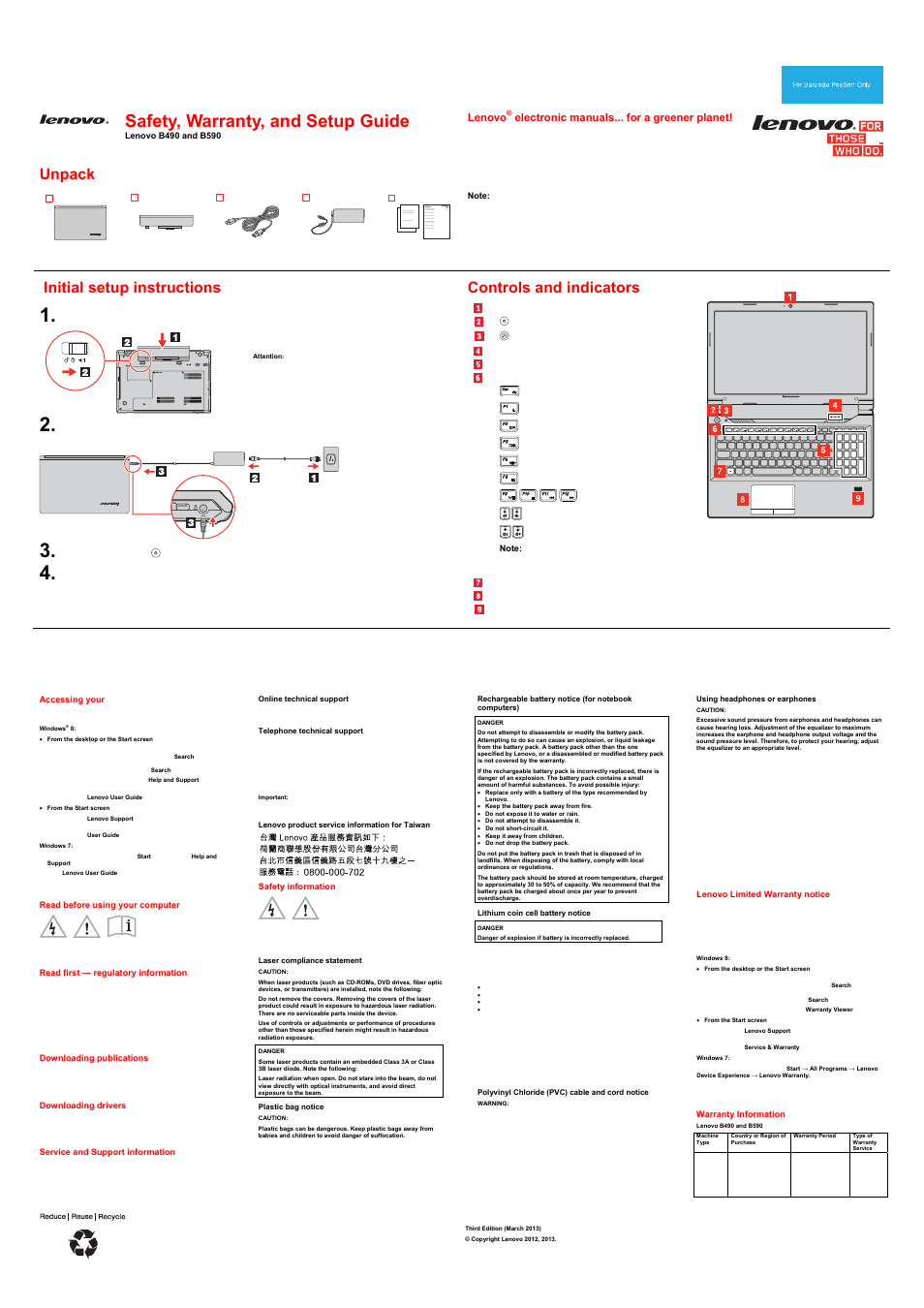 Lenovo B590 Notebook User Manual | 2 pages | Also for: B490 Notebook
