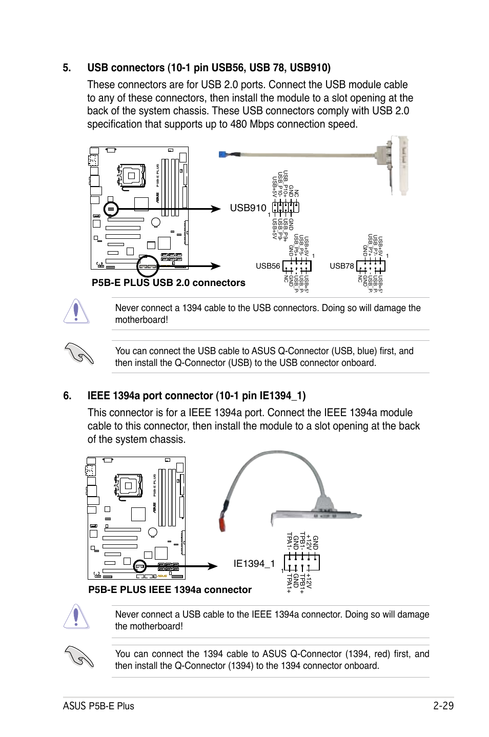 P5b E Plus Usb 20 Connectors Usb910 Asus User Manual Cable Wiring Diagram Page 53 158