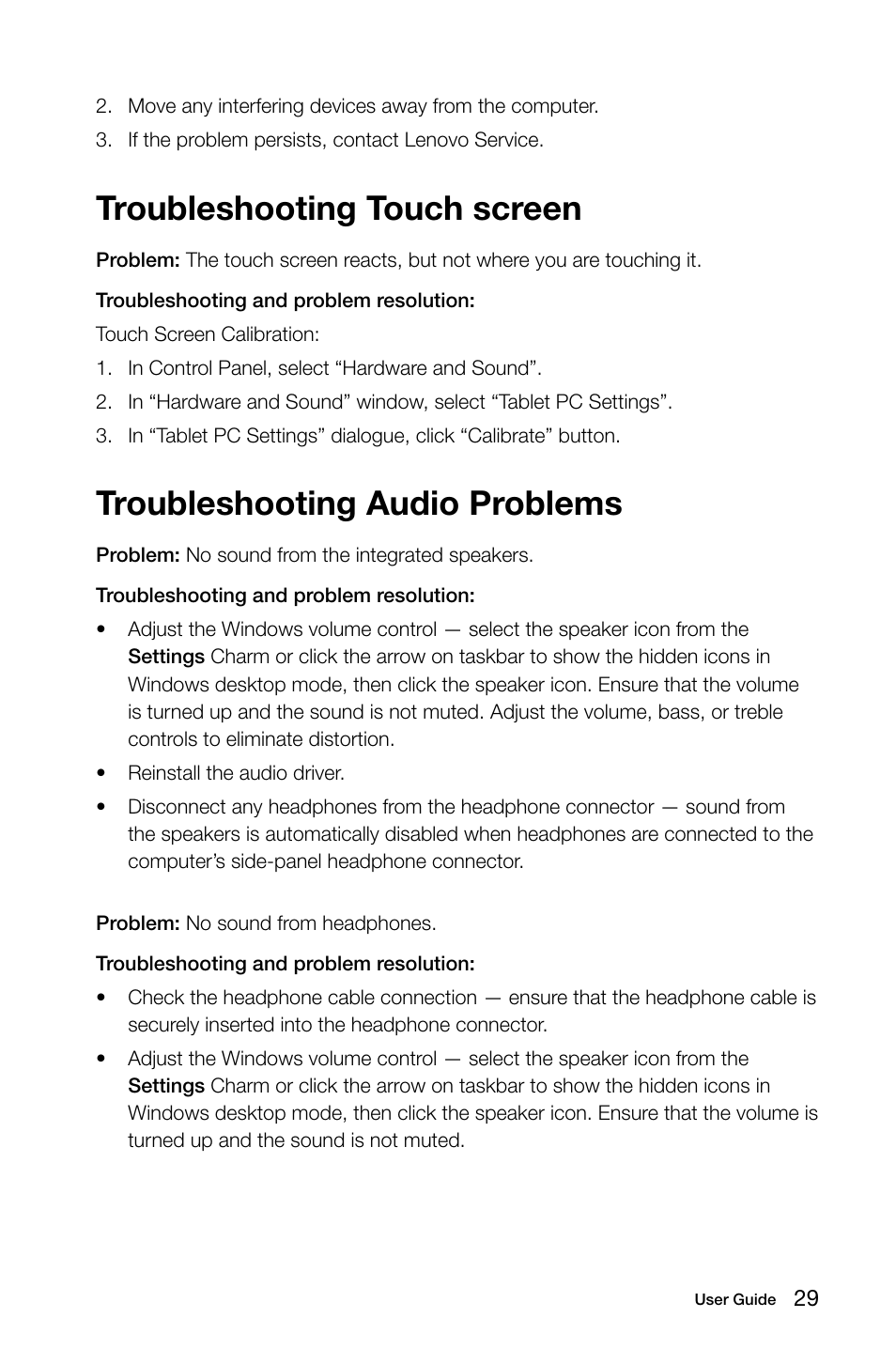 Troubleshooting touch screen, Troubleshooting audio problems