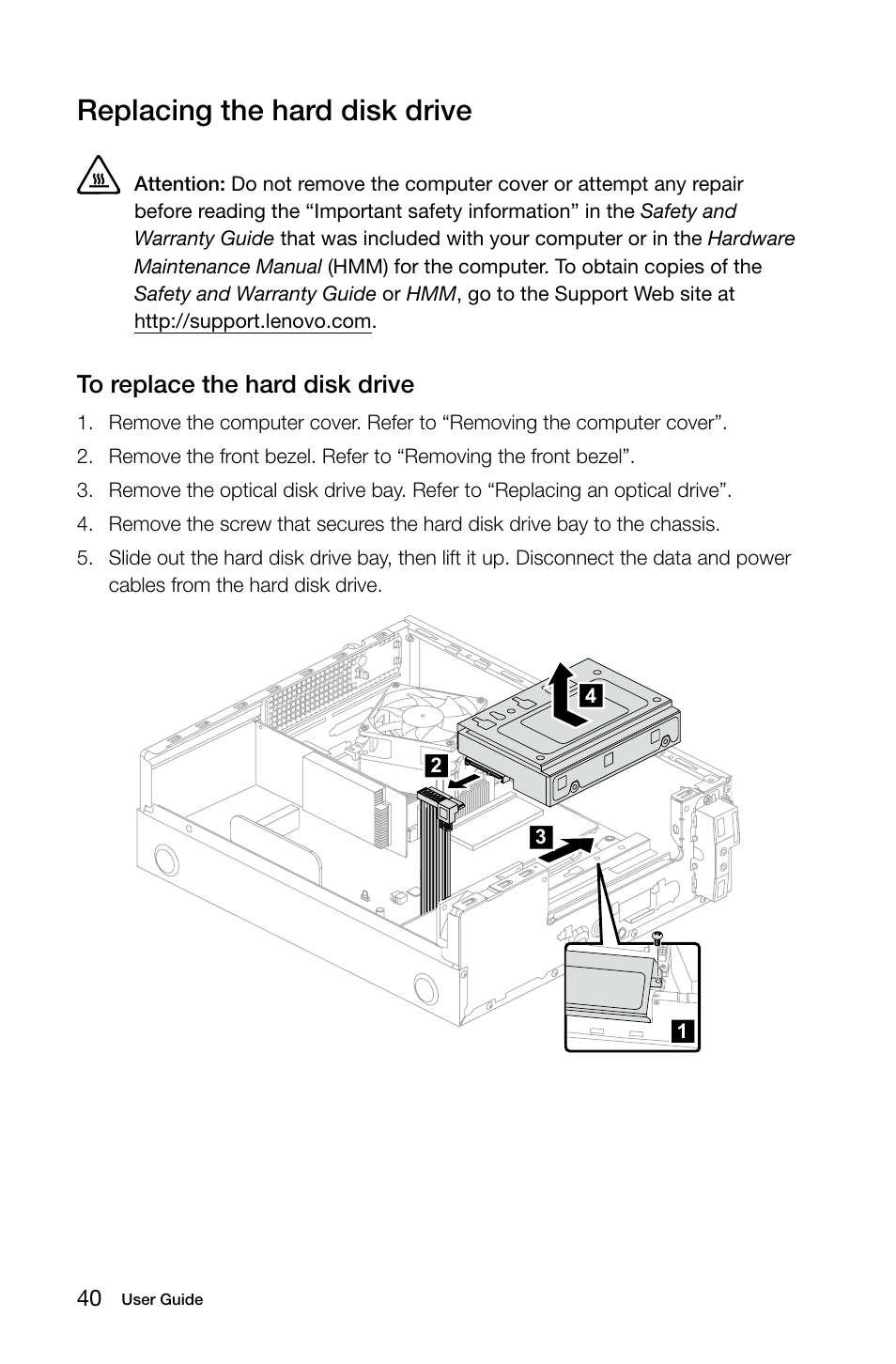 Replacing the hard disk drive | Lenovo H500s Desktop User Manual | Page 45  / 53