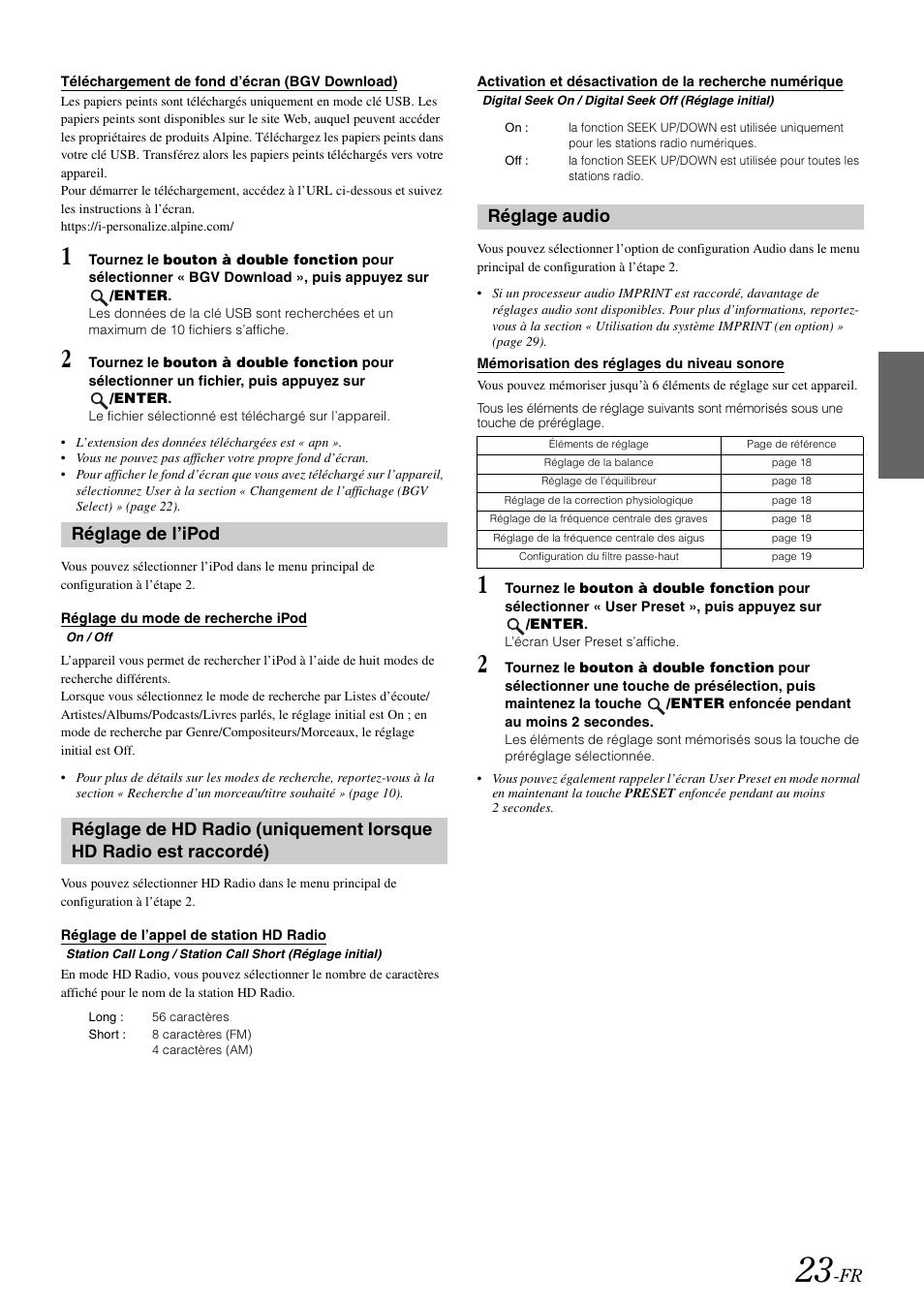 Téléchargement de fond d'écran (bgv download), Réglage de l'ipod, Réglage  du mode de recherche ipod | Alpine IDA-X100 User Manual | Page 73 / 143