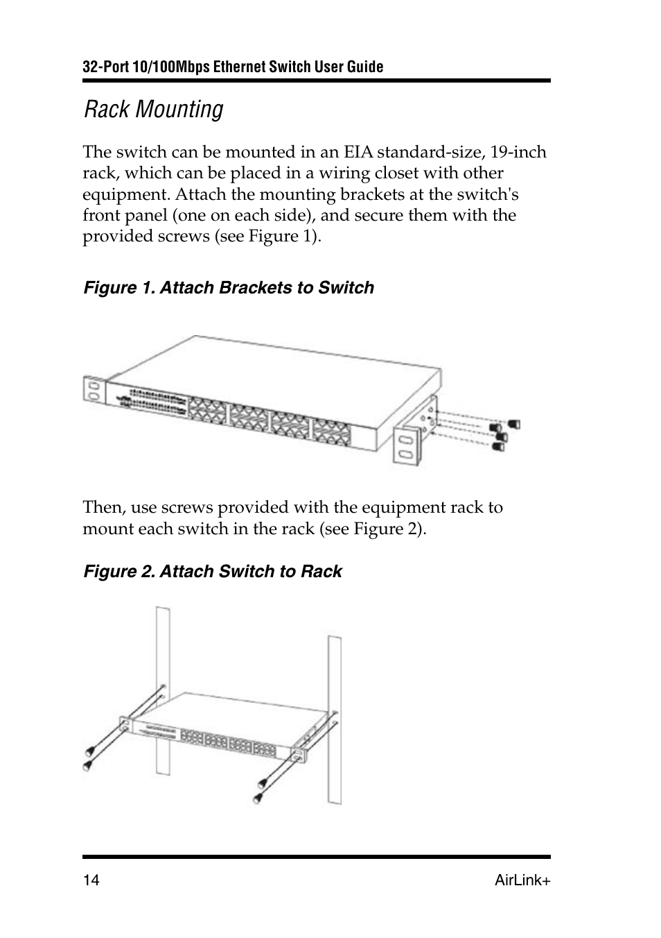 Rack Mounting Airlink Ug Asw232 1103 User Manual Page 14 24 Wiring Closet Equipment