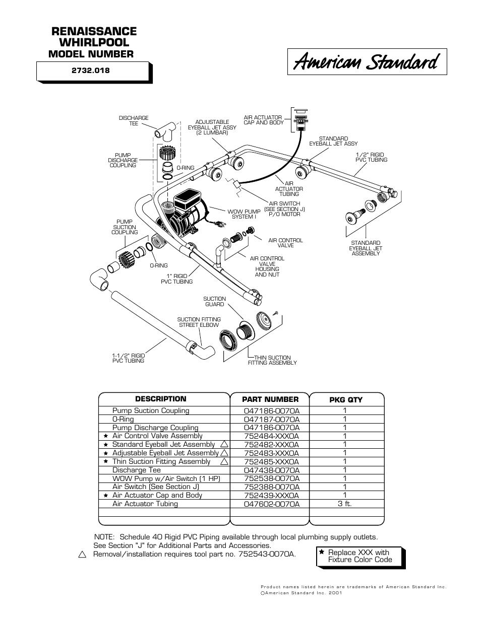 American Standard Whirlpool and Bathing Pool 2732.018 User Manual ...