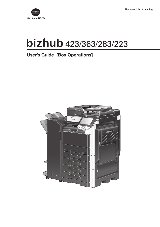 Konica Minolta BIZHUB 223 User Manual | 302 pages | Also for: BIZHUB 423,  BIZHUB 363, BIZHUB 283