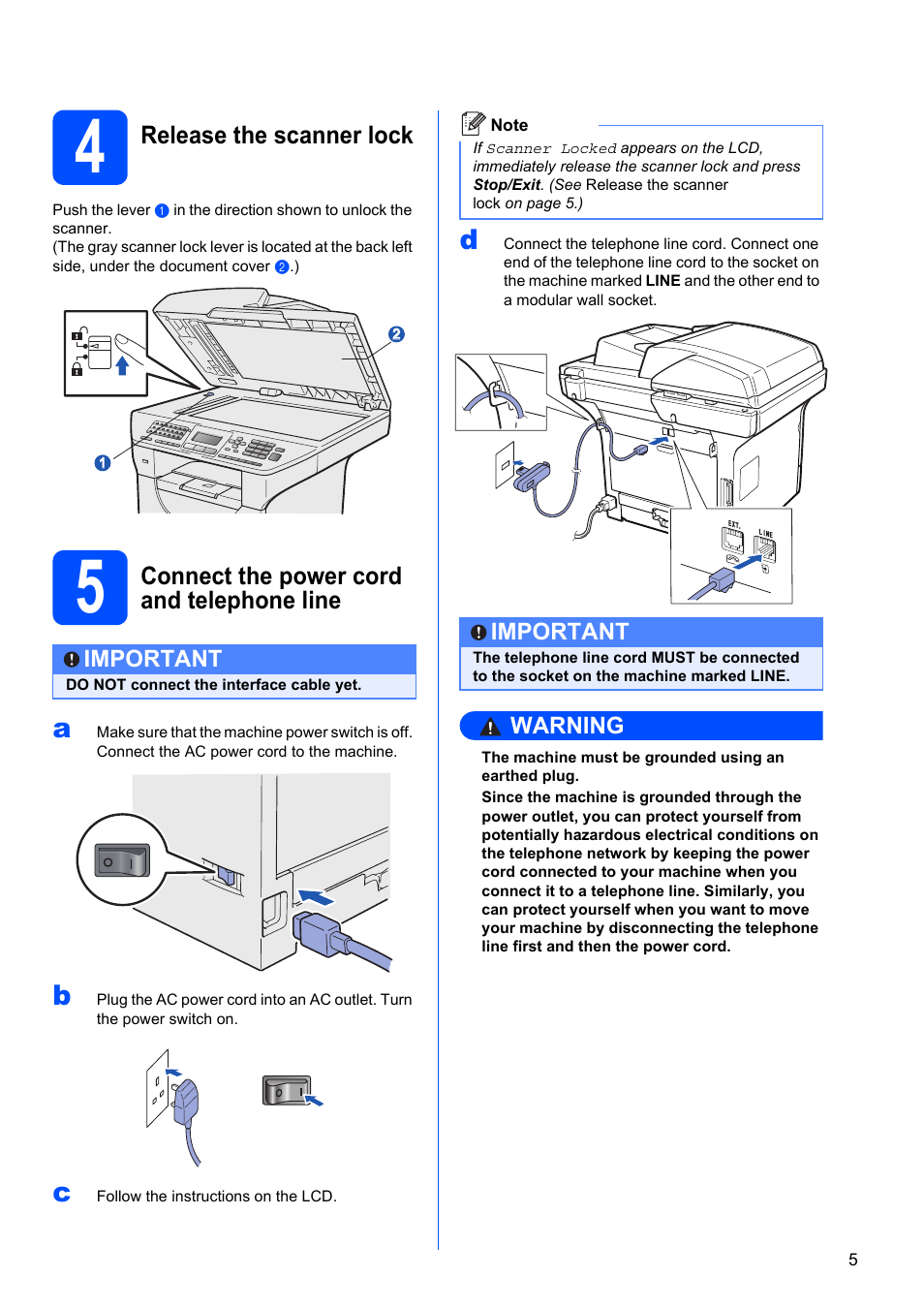 4 Release The Scanner Lock 5 Connect Power Cord And Telephone Wire Connection Diagram Line Konica Minolta Bizhub 20 User Manual Page 31