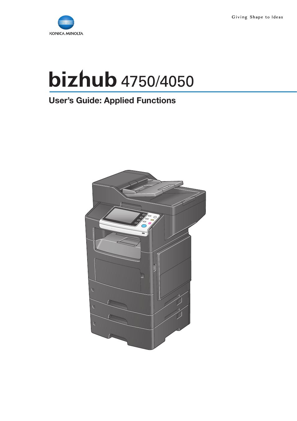 Konica Minolta bizhub 4750 User Manual   149 pages   Also for: bizhub 4050