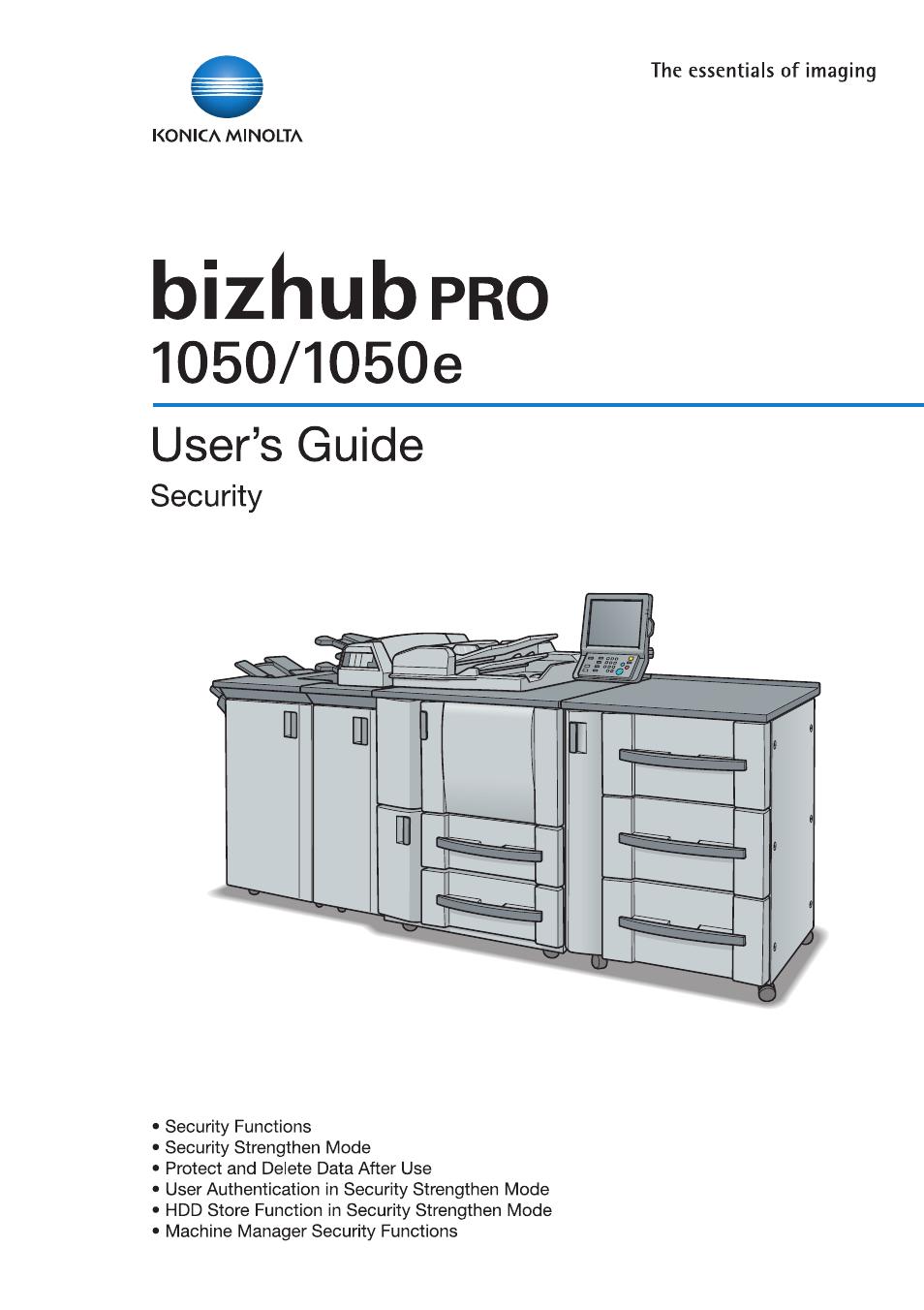 Konica Minolta BIZHUB PRO 1050 User Manual   64 pages   Also for: BIZHUB  PRO 1050E