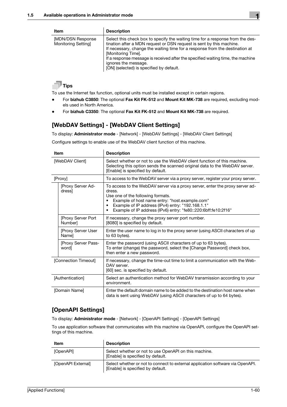 Webdav settings] - [webdav client settings, Openapi settings