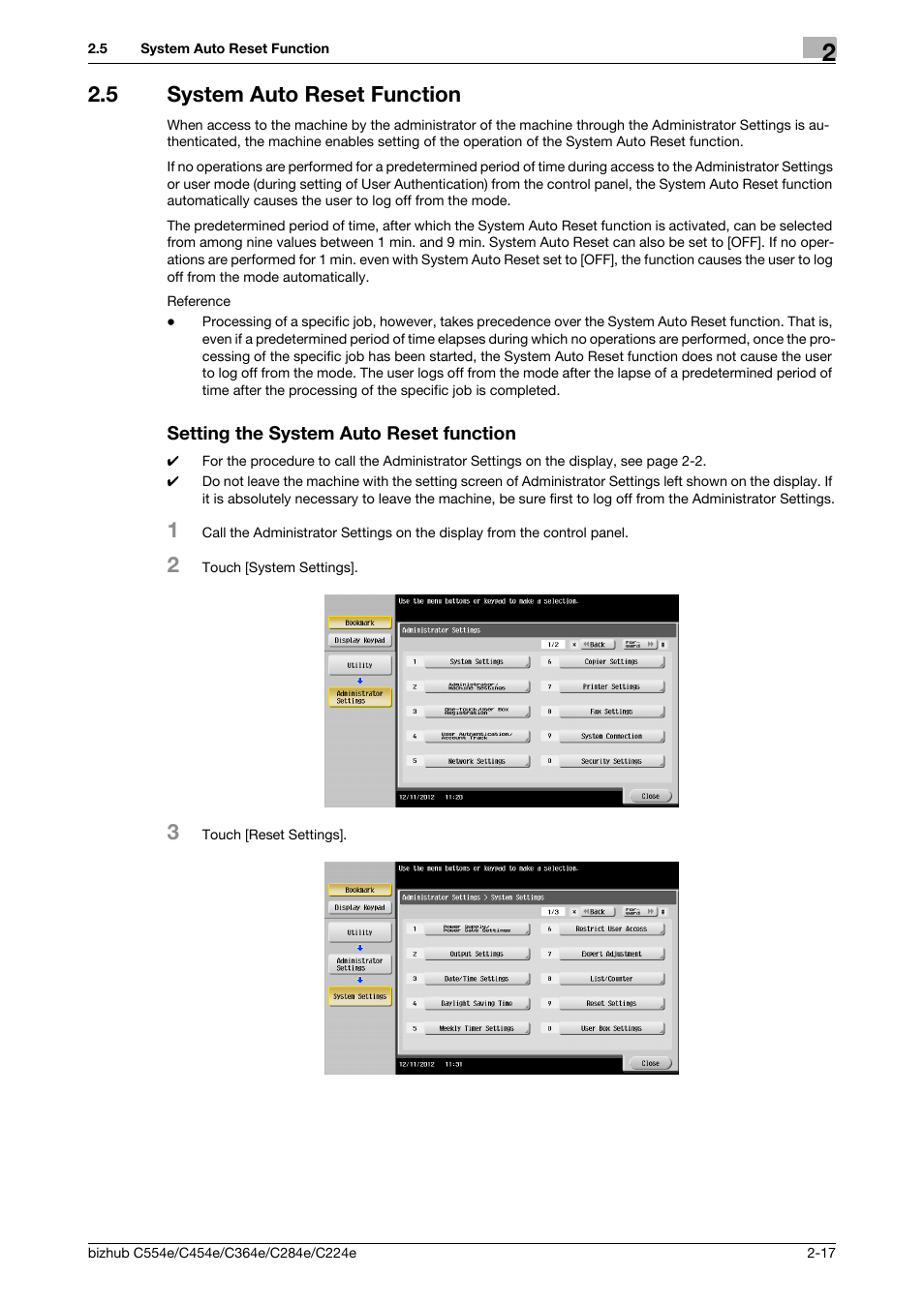 5 system auto reset function, Setting the system auto reset function | Konica  Minolta bizhub