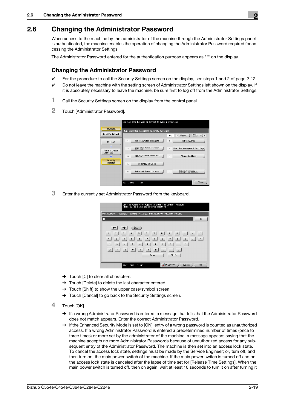 6 changing the administrator password, Changing the administrator password  | Konica Minolta bizhub C364e User