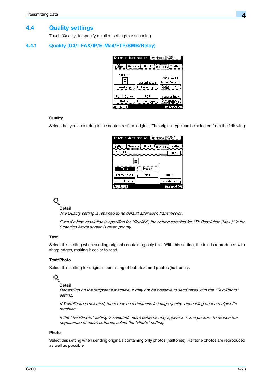 4 quality settings, 1 quality (g3/i-fax/ip/e-mail/ftp/smb