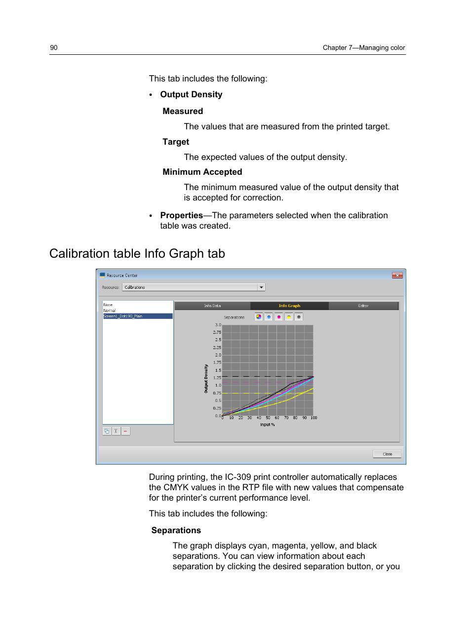 Calibration table info graph tab   Konica Minolta bizhub PRESS C1060 User  Manual   Page 100