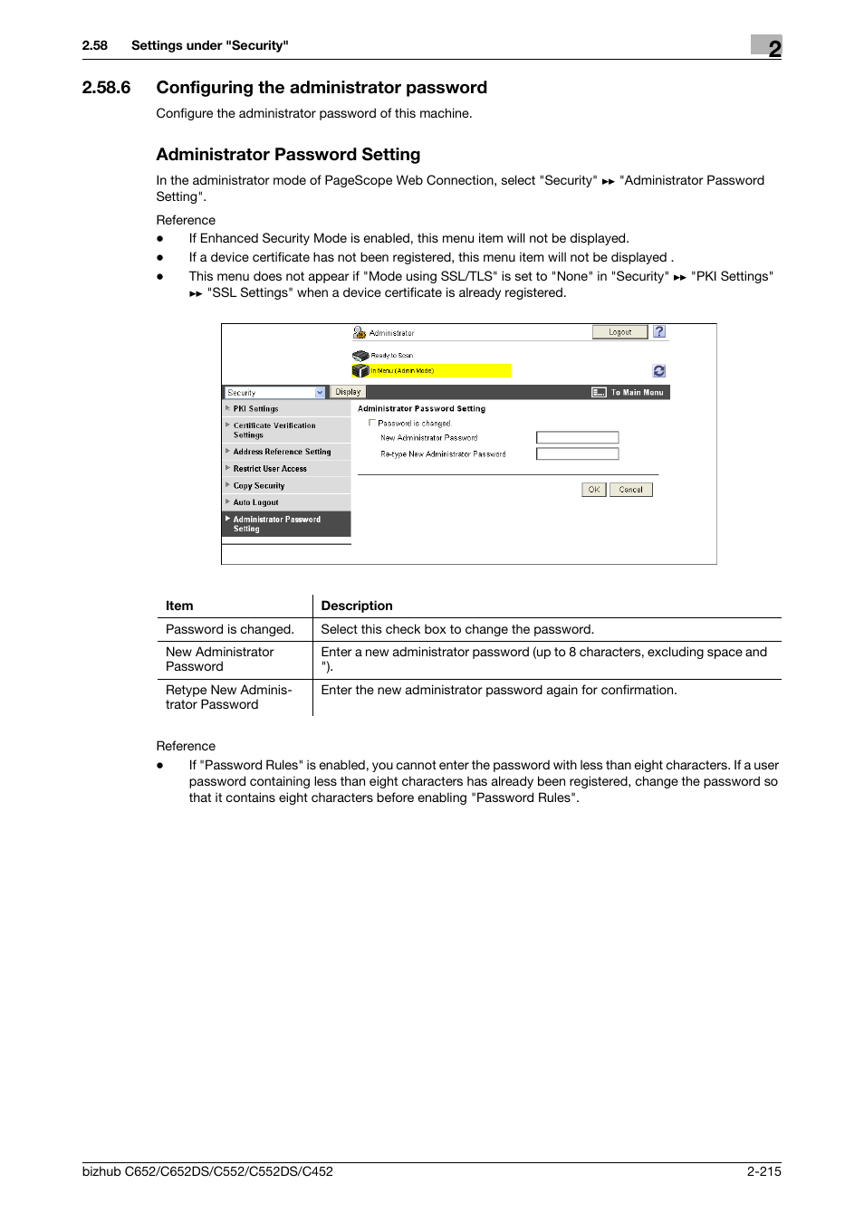 administrator password for konica minolta