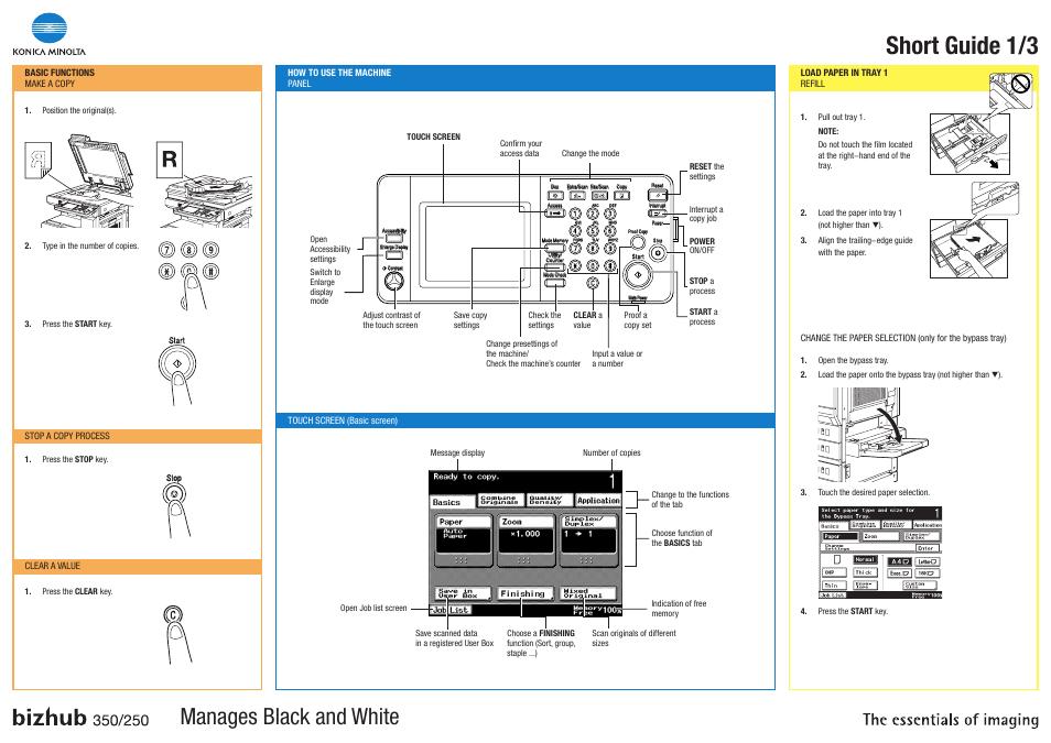 konica minolta bizhub 350 user manual 3 pages also for bizhub 250 rh manualsdir com konica minolta bizhub 360 manual konica minolta bizhub c350 service manual pdf